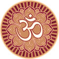 Om - Aum - Symbol in Flower Rosette Royalty Free Stock Images