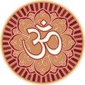 Om - Aum - Symbol in Flower Rosette Royalty Free Stock Photo