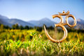 Om statue in the mountain Royalty Free Stock Photography