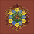 Om and swastika hexagonal chart a hindu devotional prayers picture mantra the is written in tamil surrounded by Royalty Free Stock Photo