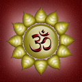 Om symbol illustration of in the golden sun Royalty Free Stock Image