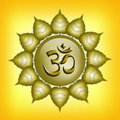 Om symbol illustration of in the golden sun Royalty Free Stock Images