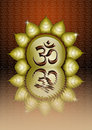 Om symbol illustration of in golden sun Royalty Free Stock Images