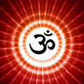 Om symbol over rays Royalty Free Stock Images
