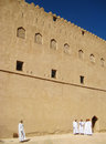 Oman nizwa old city with some peolple fort in an in near the desert Royalty Free Stock Photos