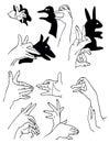 Ombre des mains Photo stock