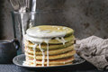 Ombre matcha pancakes Royalty Free Stock Photo