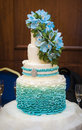 Ombre ruffle cake with flowers decor Royalty Free Stock Photos
