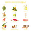 Omega best brain foods for brain function in infographic elements health care concept flat design Royalty Free Stock Photography