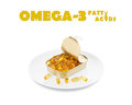 Omega fatty acids dinner on white with text Stock Photos
