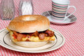Omelet with bacon sandwich Royalty Free Stock Photos