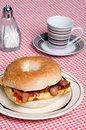 Omelet with bacon sandwich with coffee Stock Photography