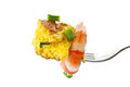 Omelet with cooked shrimp Royalty Free Stock Images