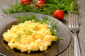 Omelet with herbs and vegetables on the plate Royalty Free Stock Images