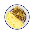 Omelet With Potatoes On Plate Top View Royalty Free Stock Photo