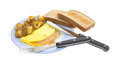 Omelet with toast potatoes and silverware Royalty Free Stock Image