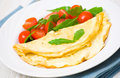Omelet with vegetable salad on plate Royalty Free Stock Photography