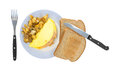 Omelet with whole wheat toast Royalty Free Stock Images