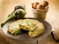 Omelette with artichokes Royalty Free Stock Image
