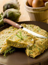 Omelette with artichokes Stock Photos