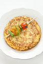 Omelette with grilled vegetable skewer Royalty Free Stock Images