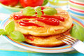 Omelette with ketchup Royalty Free Stock Images