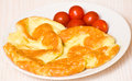 Omelette with tomato on a white plate Stock Image