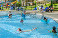 Omer israel june people swim in the outdoor pool omer negev june in israel opening of summer season children s swimming Royalty Free Stock Images
