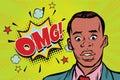 Omg pop art African man surprise illustration Royalty Free Stock Photo