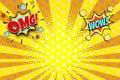 Omg wow yellow orange rays pop art background Royalty Free Stock Photo