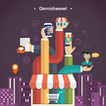 Omni-channel shopping experience Royalty Free Stock Photo