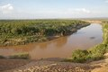 Omo river landscape in the south of the ethiopia Stock Images