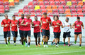 Omonia nicosia training session s players pictured during the official before the uefa europa league qualifier game between astra Stock Images