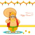 Onam background illustration of king mahabali in Stock Photography