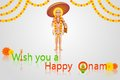 Onam greetings easy to edit vector illustration of king mahabali in greeting Royalty Free Stock Images