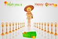 Onam greetings easy to edit vector illustration of king mahabali in greeting Stock Photography