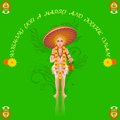 Onam greetings easy to edit vector illustration of king mahabali in greeting Royalty Free Stock Photos