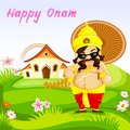 Onam greetings vector illustration of king mahabali wishing happy Stock Photography