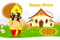 Onam greetings vector illustration of king mahabali wishing happy Royalty Free Stock Photography