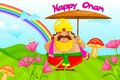 Onam greetings vector illustration of king mahabali wishing happy Stock Images