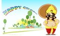 Onam greetings vector illustration of king mahabali wishing happy Royalty Free Stock Images