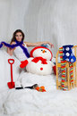 Once upon a time the beautiful young girl posing in christmas decorations Stock Image