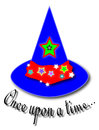 Once upon a time colorful magician hat ornated with multiple stars and the message right under it Stock Photos