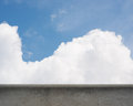 Oncrete parapet and blue sky image of a concrete with clouds Stock Photography