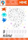 Learn numbers 9. Nine. Kids learn to count worksheet. Children educational game for numbers. Vector illustration.