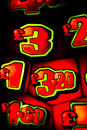 One arm bandit slot machine in casino reels showing numbers at night photograph Royalty Free Stock Photos