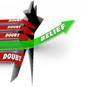 One arrow of belief beats doubt confidence vs uncertainty the word on a green jumping over a hole defeats red arrows marked as Stock Photography