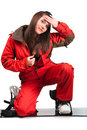 One beautiful girl with snowboard Royalty Free Stock Image