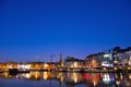 One of the beautiful pleasure harbours in ghent belgium january at nightfall Stock Images