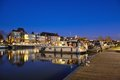 One of the beautiful pleasure harbours in ghent belgium january at nightfall Stock Image